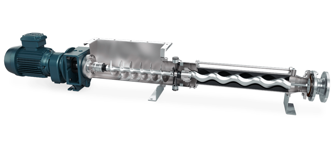 A rendering of a cross section of a Progressing Cavity Pump.